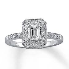 engagement rings emerald cut diamond engagement ring 1 ct tw emerald cut 14k white gold