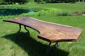 Raw Edge Table by 0005x1 Finished Guanacaste Parota Live Edge Table Top Curl