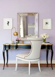 gold and black french desk with beveled beaded mirror
