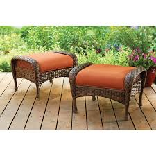 Patio Chairs With Ottoman Table Summer Winds Patio Furniture Brown Wicker Ottoman With