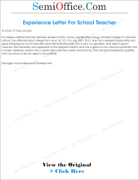 Certification Letter From Employer Experience Letter For Teacher From School