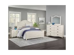 vaughan bassett american maple solid wood queen shiplap bed dunk shown in dusky white painted finish over solid maple