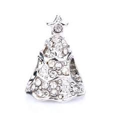 silver christmas 925 silver christmas tree clear cz spacer charm bead