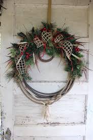 western lariat christmas wreath with horseshoe rustic