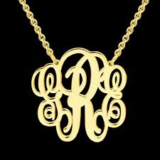 Gold Plated Monogram Necklace Personalized Monogram Necklace Gold Plated New