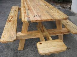 Plans For Picnic Table With Attached Benches by Outdoor Wooden Table And Benches 19 Home Design With Outdoor