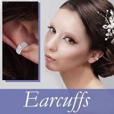 ear cuffs 10k yellow gold swarovski white pearls ear pin earrings