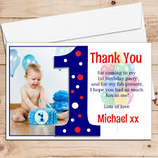 First Birthday Invitation Cards For Boys 10 Personalised Boys First 1st Birthday Thank You Photo Cards N191