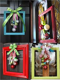 Crafts For Christmas Gifts Chritsmas Decor Elegant And Unusual Door Decorations Made From Picture Frames