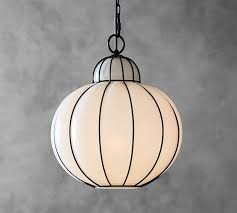 Caged Pendant Light Camille Milk Glass Caged Pendant Pottery Barn