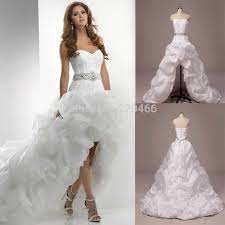wedding dresses high front low back high low beaded belt organza wedding dress plus size