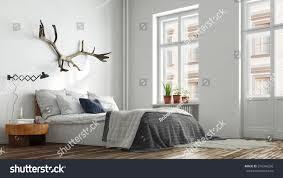 modern hipster bedroom berlin bed nightstand stock illustration