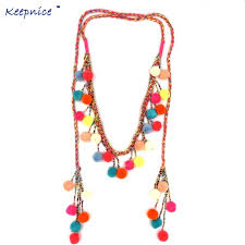 beaded charm necklace images Women colthing accessories bohemian pompoms charm long beaded jpg