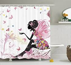 Pink Black And White Shower Curtain Amazon Com Pink Butterfly With Floral Dress Flower Design