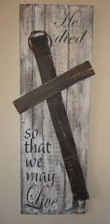 wooden craft crosses he died so that we may liverustic painted wood easter