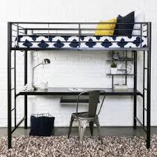 Black Bunk Bed With Desk Walker Edison Metal Loft Bed With Workstation