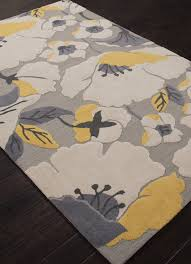 Rugs Modern by Jaipur Rugs Modern Floral Pattern Gray Yellow Polyester Area Rug