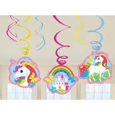 unicorn party supplies 6 x unicorn hanging swirls birthday party decorations unicorn