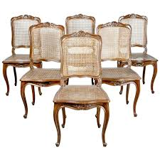 Walnut Dining Room Chairs Set Of Six French Louis Xv Style Cane Dining Chairs In Walnut At