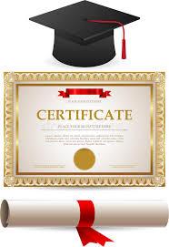 graduation cap frame golden certificate diploma and graduation cap stock vector