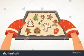 hands holding christmas bakery gingerbread cookie stock vector