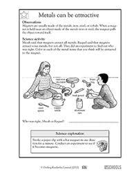 1st grade 2nd grade kindergarten science worksheets metals