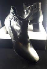 s boots size 9 1 2 black boots george faux leather ankle applique flower zip