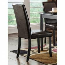 Parson Dining Chair Brown Casual Dining Faux Leather Comfort Set Of 6