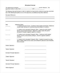 sample behavior contract free printable behavior contracts for