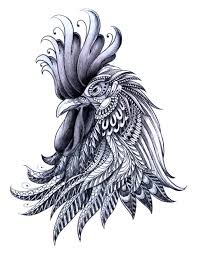 white and grey rooster design