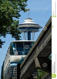 Seattle Monorail Map by The Space Needle Towers Over The Seattle Monorail Editorial Photo