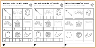 find and write the air words differentiated activity sheet pack