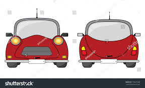 cartoon car back creative red vintage car illustration front stock illustration