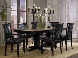 stylish dining room set idea with black floral upholstered chairs