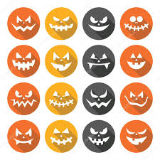 scary halloween sign scary halloween pumpkin faces flat design icons set u2014 stock vector