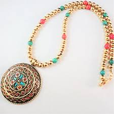tibetan necklace images Tibetan brass coral and turquoise pendant and beads necklace JPG