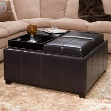Leather Storage Ottoman With Tray Storage Ottoman With Tray Living Room Contemporary Top Countertops