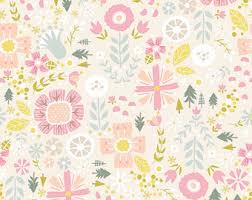 Backyard Baby Fabric by Cream Floral Fabric Etsy