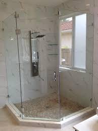 frameless neo angle shower doors lights decoration