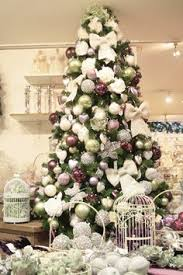 plum and silver tree decorations