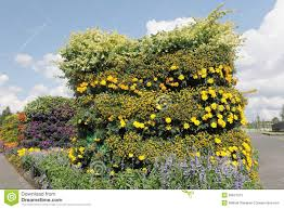 Vertical Flower Bed - vertical flowerbed against blue sky stock photos image 26847273