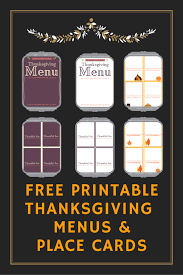 free thanksgiving place card templates free thanksgiving printables menu u0026 matching place cards the
