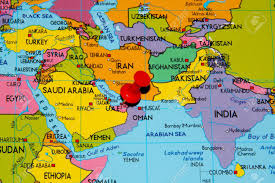 Middle East Geography Map by Colourful Map Over Middle East With Abu Dhabi Pinned Stock Photo