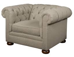 Chesterfield Style Armchair Chesterfield Style Chair With Wooden Bun Feet By Kincaid Furniture