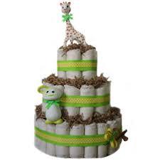 3 tier sophie giraffe green diaper cake
