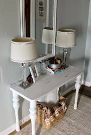 White Foyer Table by Grace Lee Cottage Living Room And Foyer Updates