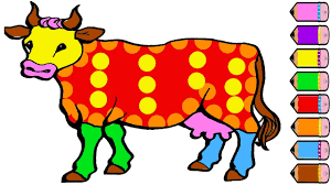 cow coloring page for kids learn colours color paint youtube