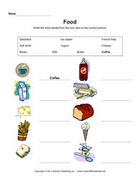 esl food vocabulary 1 u2014 instant worksheets