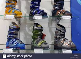 a shop display of ski boots stock photo royalty free image