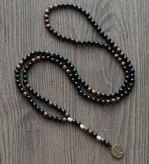 black rosary necklace men images Men necklace steampunk 6mm black onyx bronzite vintage pendant jpg